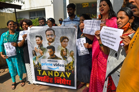 BJP supporters protest against new web series Tandav in Mumbai [Indranil Mukherjee/AFP]