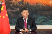 China's President Xi Jinping urged unity in the face of the coronavirus pandemic [World Economic Forum/AFP]
