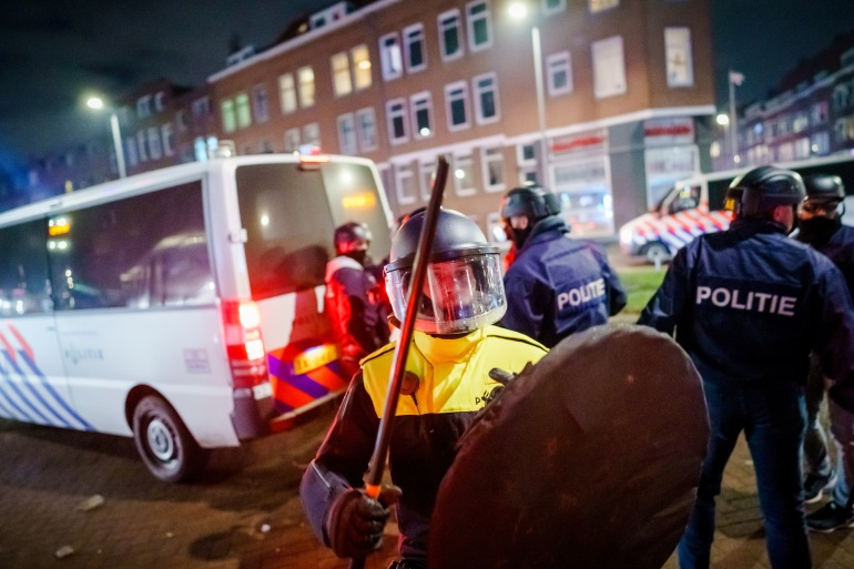 Police unions say the recent unrest marks the worst rioting in the Netherlands in 40 years [Marco de Swart/ANP/AFP]