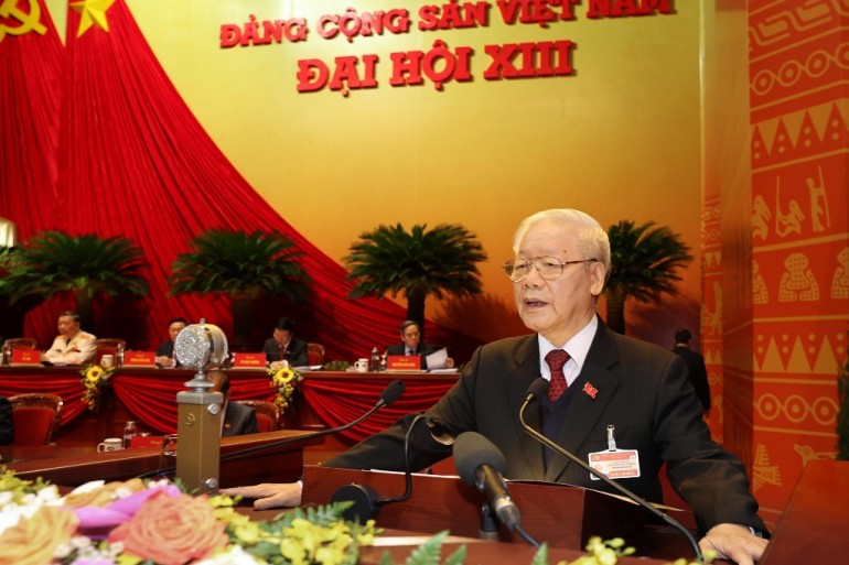 Vietnamese President and Communist Party leader Trong address the opening session of the party congress in Hanoi on Tuesday [File: Vietnam News Agency/AFP]