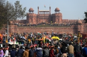 Farmers at the Red Fort as they continue to protest against the farm laws in New Delhi [Sajjad Hussain/AFP]