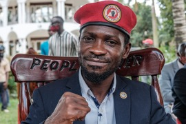 Bobi Wine, 38, had been besieged at home since voting in the presidential poll [Sumy Sadurni/AFP]