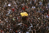 Thousands of demonstrators took to the streets of Cairo facing a massive police presence to demand the ouster of President Hosni Mubarak on January 25, 2011. [Mohammed Abed/AFP]