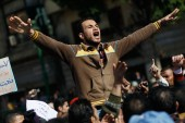 A protester leads a chant during an anti-government protest in Tahrir Square on January 31, 2011 in Cairo, Egypt [Chris Hondros/Getty Images]