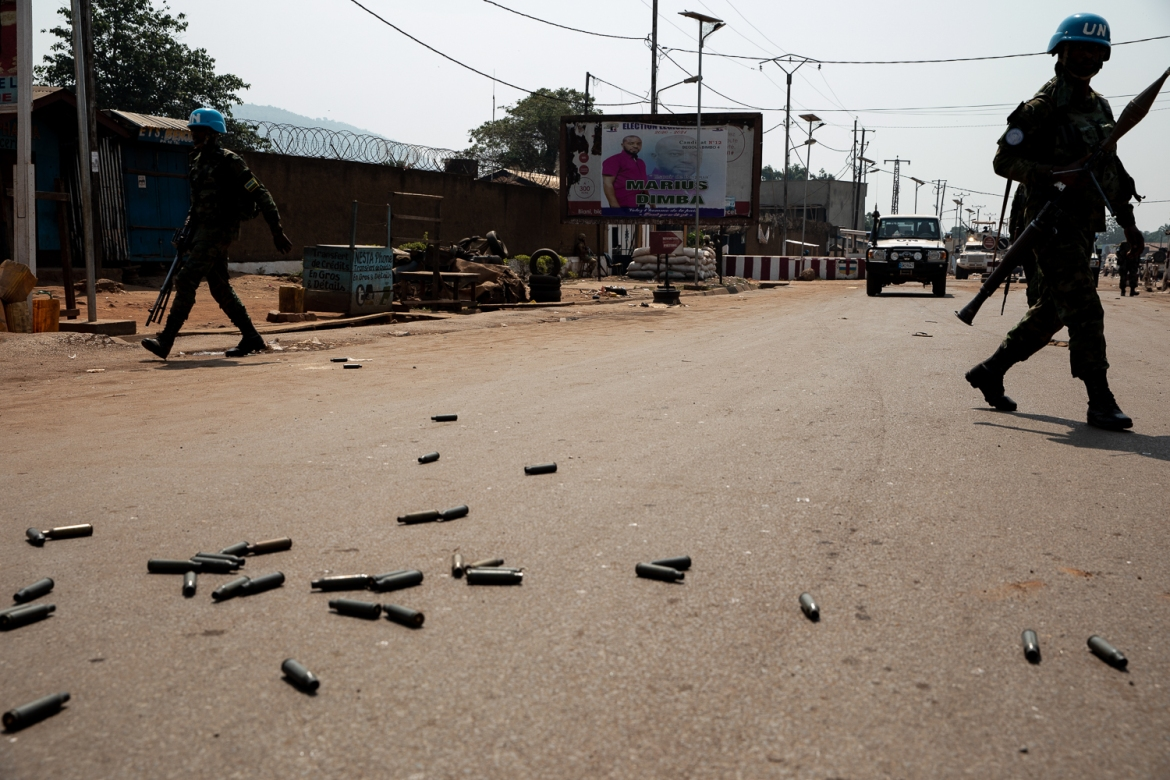 Bullet casings from the fighting are seen on the road close to PK12 market. [Adrienne Suprenant/Al Jazeera]