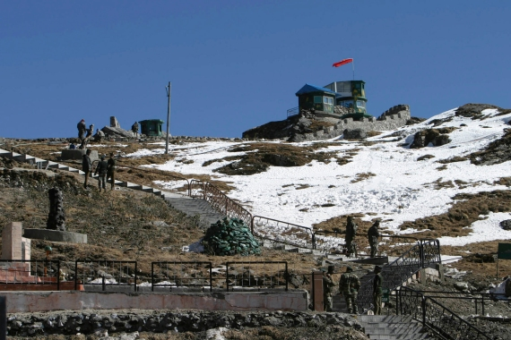 Indian army soldiers seen at the India-China trade route at Nathu La, 55 km (34 miles) north of Gangtok, capital of India's northeastern state of Sikkim [File: Rupak De Chowdhuri/Reuters]