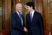 Canada's Trudeau welcomes then-US Vice President Joe Biden in Ottawa in 2016 [File: Chris Wattie/Reuters]