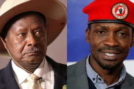 Bobi Wine (right) is the closest challenger of President Yoweri Museveni (left) [File: Reuters]