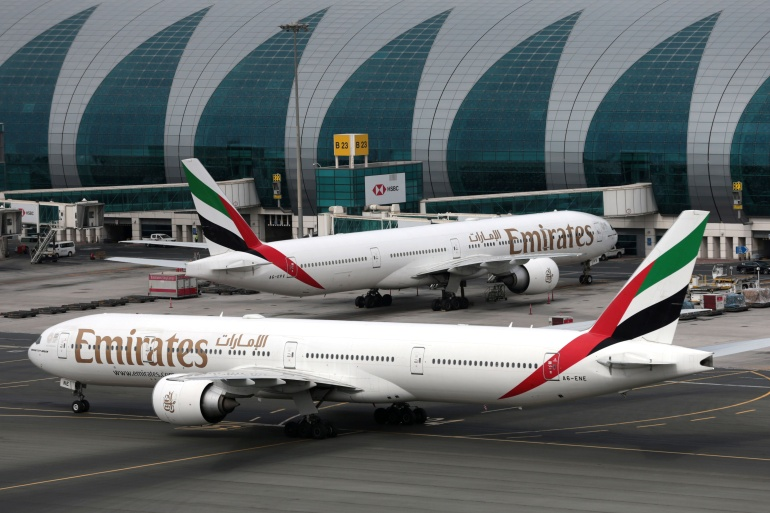 Emirates Airline planes at Dubai International Airport [File: Christopher Pike/Reuters]