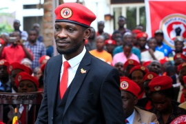Bobi Wine has been arrested multiple times on various charges, but never convicted. He says dozens of his party members have also been arrested [James Akena/Reuters]