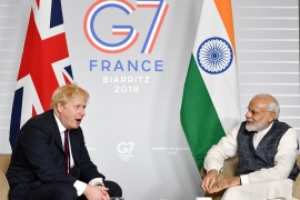Last month, the government announced Johnson's intention to visit India as part of efforts to speed up talks on trade, with the UK in search of new bilateral deals after leaving the EU [File: Jeff J Mitchell/Pool via Reuters]