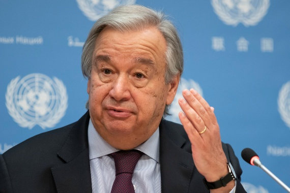 United Nations Secretary-General Antonio Guterres speaks during a news conference at UN headquarters in New York City, New York, US, November 20, 2020 [File: Eduardo Munoz/ Reuters]