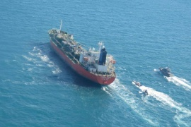 The South Korean-flagged tanker seized by Iranian forces is seen in Gulf waters [IRGC/WANA via Reuters]