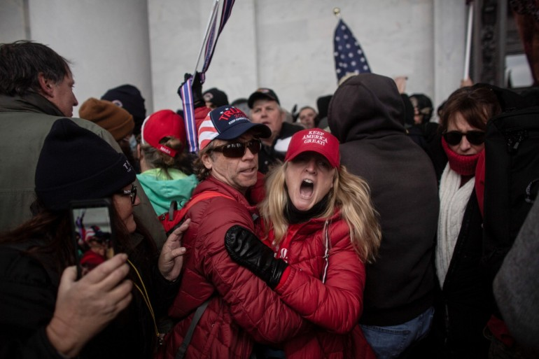 Hundreds of supporters of President Trump besieged the Capitol on Wednesday in what House of Representatives Speaker Nancy Pelosi described as 'an armed insurrection against America' [Ahmed Gaber/Reuters]