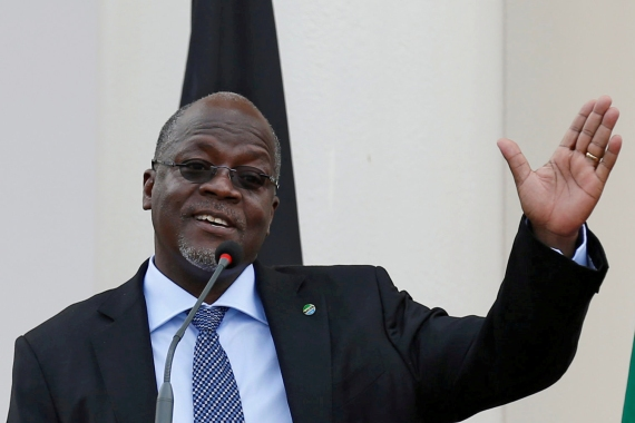 In this file photo from 2016, Tanzania's President John Magufuli addresses a news conference during an official visit to Nairobi, Kenya [File: Thomas Mukoya/Reuters]