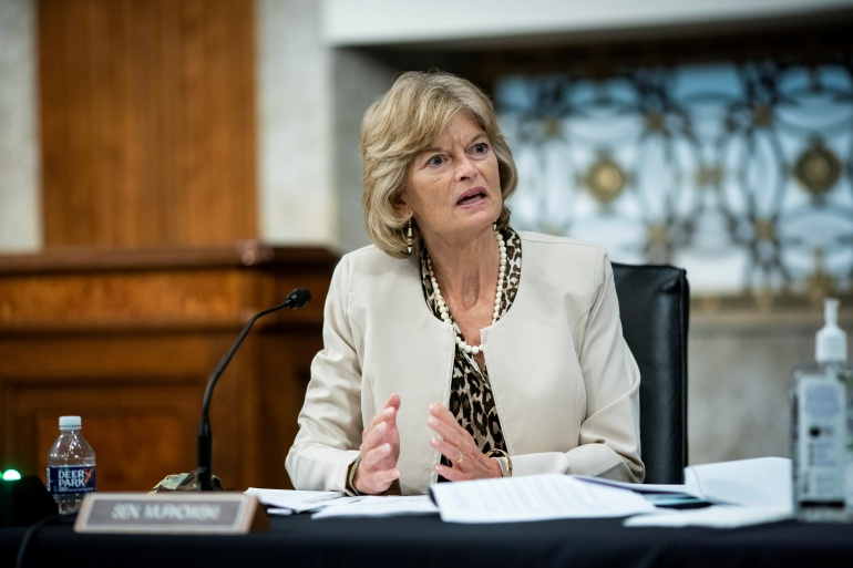 Republican Senator Lisa Murkowski told the Anchorage Daily News has said that President Trump should resign after his supporters stormed the US Capitol [File: Al Drago/Reuters]
