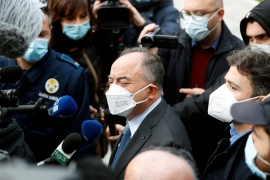 Prosecutor Nicola Gratteri speaks to the media as he arrives to the tribunal for the trial of 355 suspected members of the 'Ndrangheta mafia accused of an array of charges [Yara Nardi/Reuters]