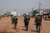 UN peacekeepers patrol the streets in Begoua, a northern district of Bangui, Central Africa Republic on January 13, 2021 [File: Antoine Rolland/Reuters]
