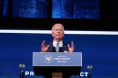 US President-elect Joe Biden delivers remarks during a televised speech on the current economic and health crises at The Queen Theatre in Wilmington, Delaware on January 14, 2021 [Reuters/Tom Brenner]