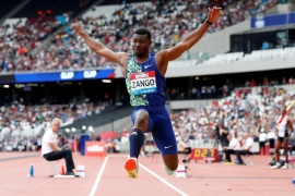 Zango warmed up with a leap of 17.33 metres before steadily increasing his best to 17.61 metres and then 17.70 metres [File: Reuters]