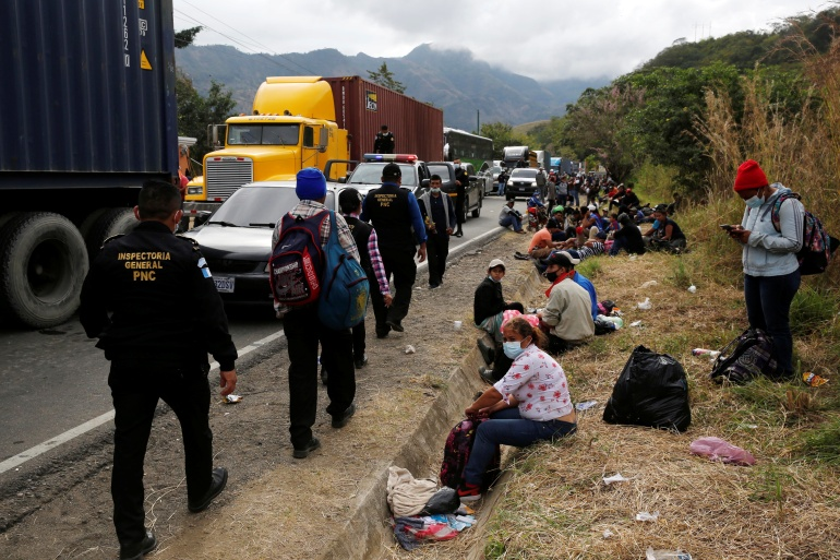 Hondurans taking part in a new caravan of migrants heading to Mexico and the United States were blocked last month by Guatemalan security forces [File: Luis Echeverria/Reuters]
