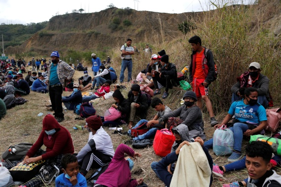 The first migrant caravan of the year comes days before Joe Biden takes office, promising to adopt a more humane approach to migration than Donald Trump. [Luis Echeverria/Reuters]