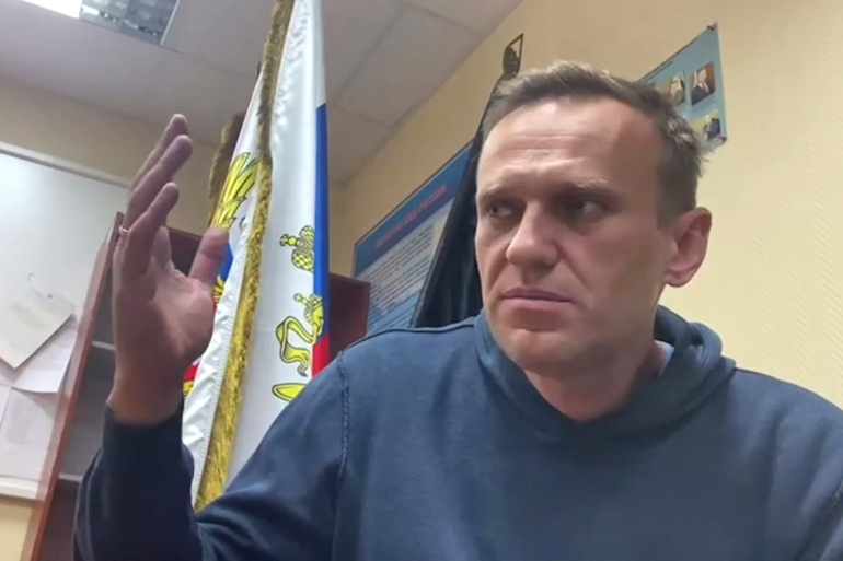 Monday's verdict was delivered in a courtroom set up at the police station in Khimki, on the outskirts of Moscow, where Navalny was taken following his detention on Sunday night [Courtesy of Instagram @NAVALNY/Social Media via Reuters]