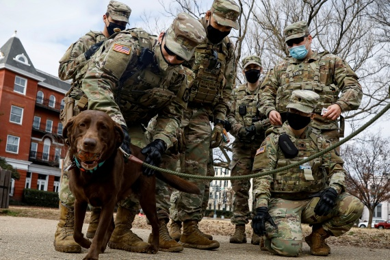 Members of the National Guard greet a dog while they spend time in Lincoln Park in Washington, DC, days ahead of US President-elect Joe Biden's inauguration. [Brendan McDermid/Reuters]