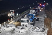 Public broadcaster NHK said highway authorities finished cleaning up the debris after about eight hours [Kyodo/Reuters]
