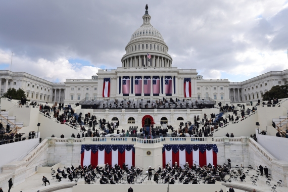 The military band is seen before the inauguration of Joe Biden as the 46th president of the United States on the West Front of the US Capitol. [Jim Bourg/Reuters]