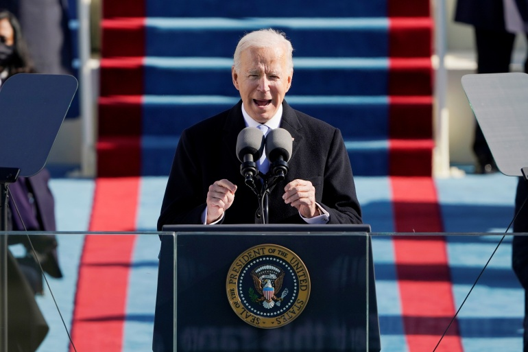 US President Joe Biden delivers his inaugural address at the US Capitol in Washington, January 20, 2021 [Patrick Semansky/Pool via REUTERS]