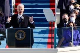 United States President Joe Biden delivers a speech after he was sworn in as the 46th US president on the West Front of the US Capitol in Washington, DC on January 20, 2021 [Jim Bourg/Reuters]