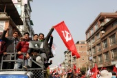 Protesters in Kathmandu, Nepal affiliated with a faction of the governing Nepal Communist Party take part in a rally against the dissolution of Parliament [Navesh Chitrakar/Reuters]