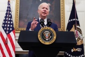 US President Joe Biden speaks about his administration's plans to respond to the economic crisis during a COVID-19 response event at the White House on January 22 [Jonathan Ernst/Reuters]