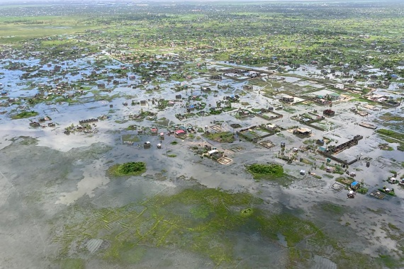 Aerial view of flooding in Beira in the wake of the cyclone. [Courtesy of Mercy Air via Reuters]