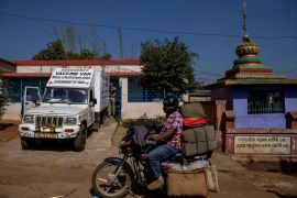 A van delivers the vaccine developed by Oxford University-AstraZeneca at Mathalput Community Health Centre in Koraput. [Danish Siddiqui/Reuters]