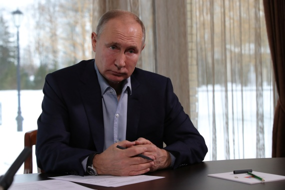 Russian President Vladimir Putin attends a meeting with university students via a video conference call at a state residence in Zavidovo, Russia, on January 25, 2021 [Sputnik/Mikhail Klimentyev/Kremlin via Reuters]