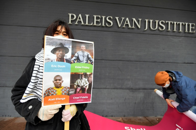 The case was initiated by four farmers and the Friends of the Earth campaign group, who were seeking reparations for lost income from contaminated land and waterways [Piroschka Van De Wouw/Reuters]