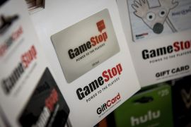 GameStop shares closed down 60 percent at $90 on Tuesday on Wall Street. They are now worth less than a fifth of their high of $483 last week [File: Christopher Dilts/Bloomberg]