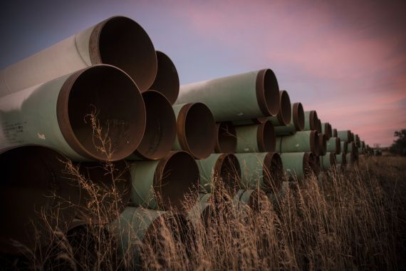 The Keystone XL pipeline was cancelled by the Obama administration in 2015 but was given a presidential permit by Trump in 2017 [File: Andrew Burton/Getty Images]