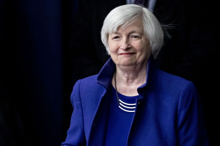 Asked on CNBC if import tariffs imposed by the Trump administration on Chinese goods have worked, US Treasury Secretary Janet Yellen hesitated, then said: 'We'll look at that.' [File: Bloomberg]