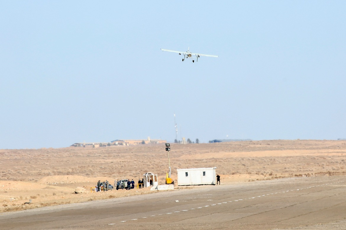 Iran's military flies a drone as part of its first-ever show of force with unmanned aerial vehicles. [Courtesy of the Iranian government]