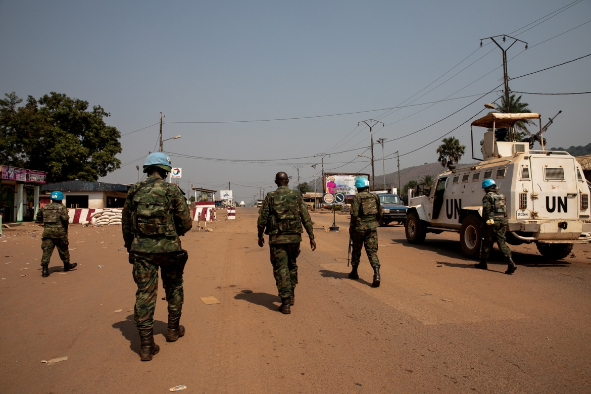 MINUSCA troops monitor the situation in Bangui's PK12 neighbourhood. [Adrienne Suprenant/Al Jazeera]