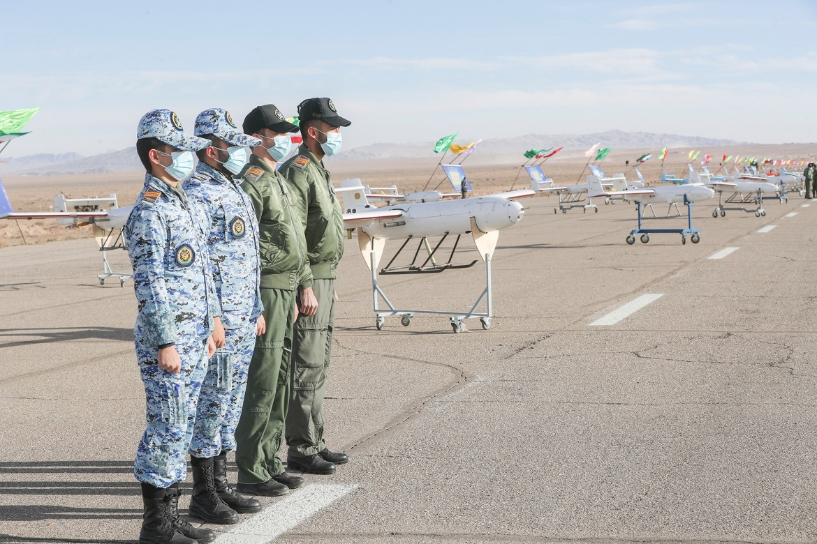 Military officers inspect drones in the northern province of Semnan. [Courtesy of the Iranian government]