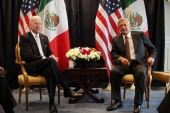 Then-US Vice President Joe Biden poses for photos with then- Mexican presidential candidate Andres Manuel Lopez Obrador, in Mexico on March 5, 2012 [File: Alexandre Meneghini/AP Photo]