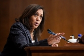 Kamala Harris will resign her Senate seat on Monday [File: Alexander Drago/AP Photo]