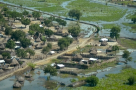 Thatched huts surrounded by floodwaters are seen from the air in Old Fangak county, Jonglei state, South Sudan [Maura Ajak/AP]