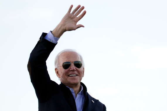 President-elect Joe Biden arrives to speak in Atlanta on Monday as he campaigned for Senate candidates Raphael Warnock and Jon Ossoff. [Carolyn Kaster/AP Photo]