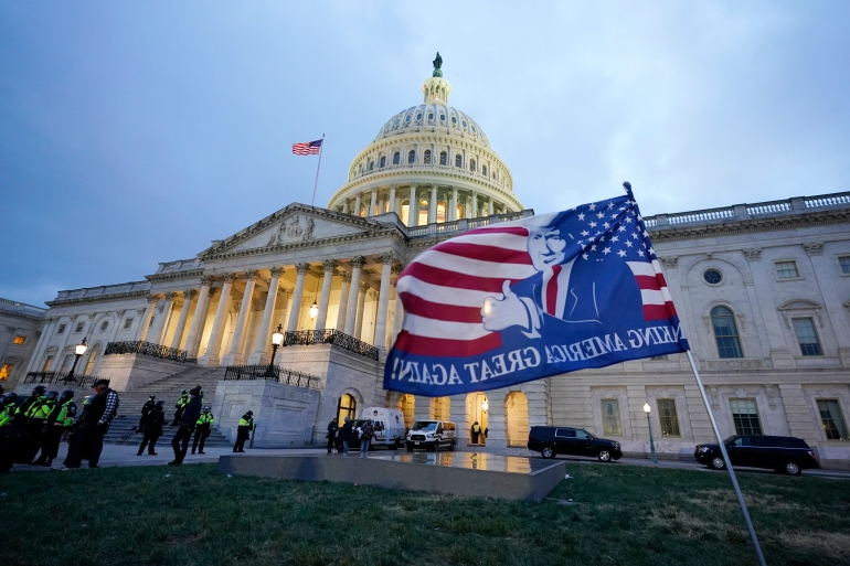 Trump supporters left a flag outside the Capitol, January 6, 2021, in Washington, DC [Manuel Balce Ceneta/AP Photo]