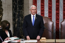 Vice President Mike Pence has told House Speaker Nancy Pelosi he will not support a move to use the 25th Amendment to remove Trump [File: J Scott Applewhite/Pool via AP Photo]